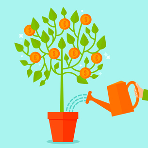 Vector money tree concept in flat style - green plant with coins on the branches - investment concepのイラスト素材 [FYI03084455]