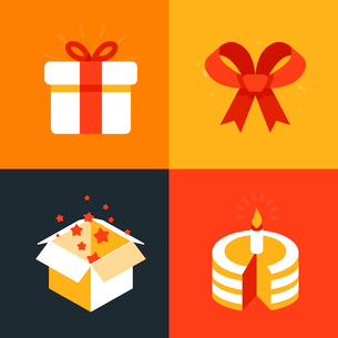 Vector present emblems and signs - gift illustration in flat styleのイラスト素材 [FYI03084456]