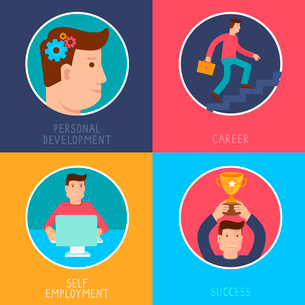 Vector business success concepts in flat style - career from personal development to success - infogのイラスト素材 [FYI03084461]
