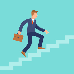 Vector career concept in flat style - cartoon man climbing the staircase to success and progressのイラスト素材 [FYI03084462]