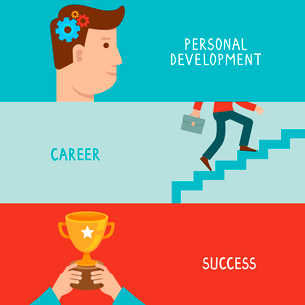 Vector business success concepts in flat style - career from personal development to success - infogのイラスト素材 [FYI03084464]