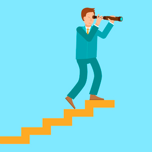 Vector career concept in flat style - cartoon man climbing the staircase to success and progressのイラスト素材 [FYI03084465]