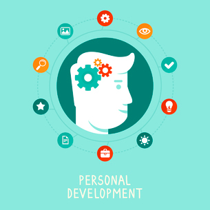 Vector personal development concept in flat style - infographic design elements and iconsのイラスト素材 [FYI03084467]
