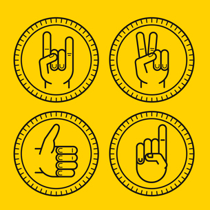 Vector set of outline icons on circle badges - gestures and signs - like, peace, rock and ideaのイラスト素材 [FYI03084470]