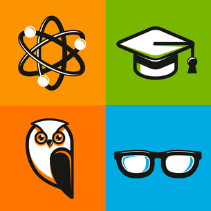 Vector education concepts in flat outline style - school and university icons and signsのイラスト素材 [FYI03084477]