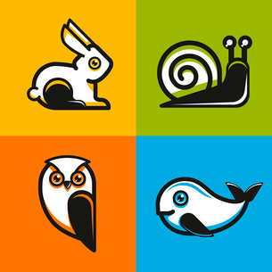 Vector animal emblems and icons in flat style - snail, owl, rabbit and whaleのイラスト素材 [FYI03084478]
