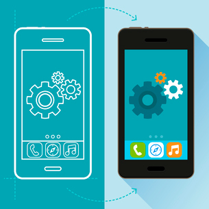 Vector app development concept in flat style - mobile phone and sketch on screen - infographic desigのイラスト素材 [FYI03084490]