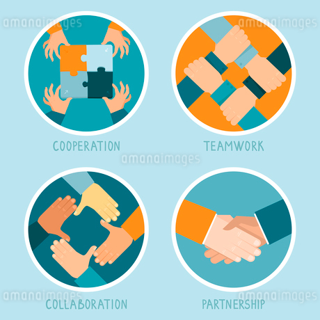 Vector teamwork and cooperation concept in flat style - partnership and collaboration icons - busineのイラスト素材 [FYI03084492]