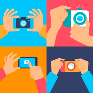 Vector set of flat icons - cameras and mobile photographyのイラスト素材 [FYI03084493]
