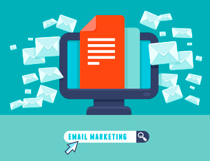 Vector email marketing concept - flat trendy icon - newsletter and subscriptionのイラスト素材 [FYI03084504]