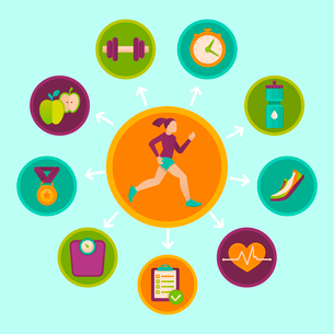 Vector fitness infographics design elements in flat style - healthy lifestyle and sportのイラスト素材 [FYI03084505]