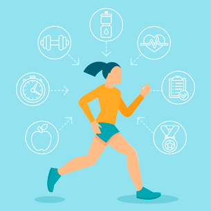 Vector fitness infographics design elements in flat style - healthy lifestyle and sportのイラスト素材 [FYI03084507]