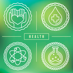 Vector outline logos and icons - healthcare and medicine - badges and emblems for medical industryのイラスト素材 [FYI03084509]