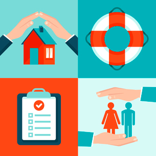 Vector insurance concepts in flat style - icons and infographic design elements - protect and safe hのイラスト素材 [FYI03084510]
