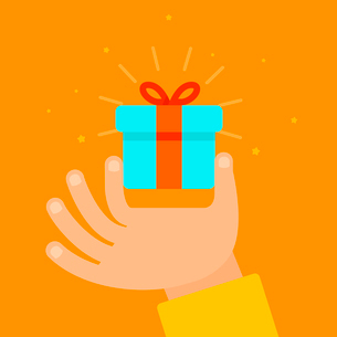 Vector hand giving present in flat style - gift concept illustrationのイラスト素材 [FYI03084514]