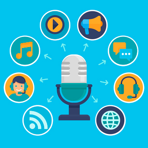 Vector podcast concept in flat style - microphone and audio icons and signsのイラスト素材 [FYI03084515]
