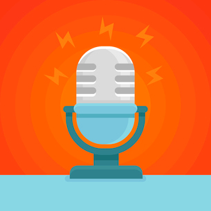 Vector podcast icon in flat icon - microphone and sound conceptのイラスト素材 [FYI03084517]