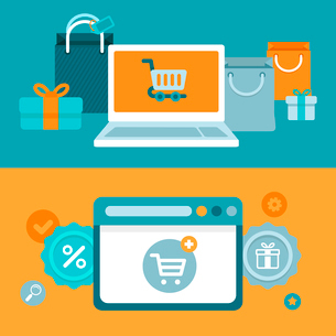 Vector internet shopping concept in flat style - marketing and e-commerce icons and sign on horizontのイラスト素材 [FYI03084519]