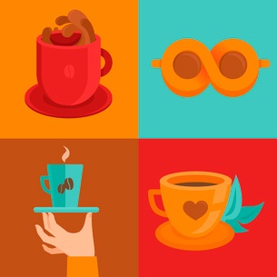 Vector coffee concepts and signs in flat style - cups and mugs with hot drinkのイラスト素材 [FYI03084523]
