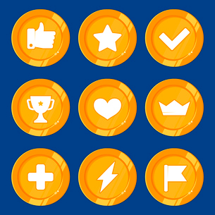 Vector cartoon gamification badges and golden coins - rewards and prizes for app or gameのイラスト素材 [FYI03084526]