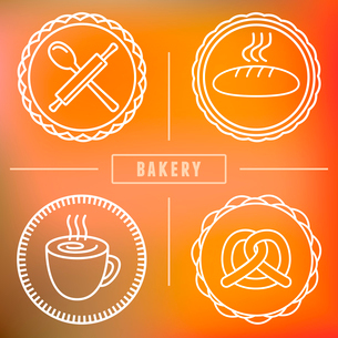 Vector bakery and pastry emblems and icons in outline style - abstract logo design elementsのイラスト素材 [FYI03084528]