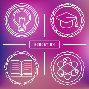 Vector education icons and logos in outline style - set of design elementsのイラスト素材 [FYI03084529]