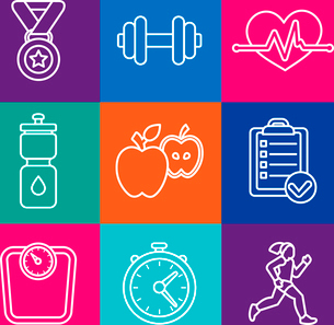 Vector set of fitness icons and achievement badges in flat outline style - healthy lifestyle and dieのイラスト素材 [FYI03084531]