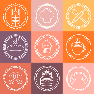 Vector bakery and pastry emblems and icons in outline style - abstract logo design elementsのイラスト素材 [FYI03084533]