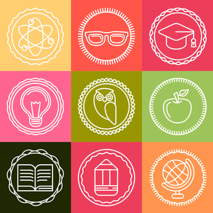 Vector education icons and logos in outline style - set of design elementsのイラスト素材 [FYI03084535]