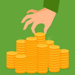 Vector finance concept in flat style - stack of golden coins and human handのイラスト素材 [FYI03084545]