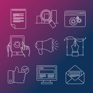 Vector internet business infographic design elements and icons  in outline style - marketing and devのイラスト素材 [FYI03084546]