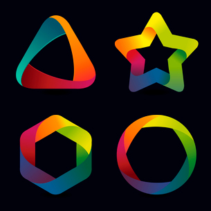 Vector rainbow logo templates - icons and signs in bright colorsのイラスト素材 [FYI03084547]