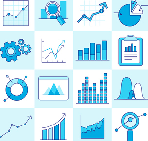 Vector set of business graphs and diagrams in outline style - investment and growth conceptのイラスト素材 [FYI03084550]
