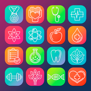 Vector healthcare and fitness icons and logos on square app buttonsのイラスト素材 [FYI03084557]