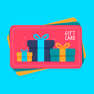 Vector gift card in flat style - shopping certificate with present iconsのイラスト素材 [FYI03084562]