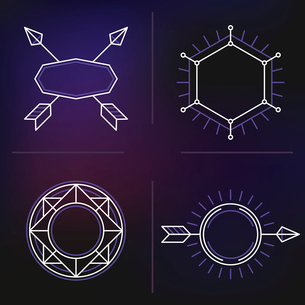 Vector set of outline emblems and badges - abstract hipster logo templatesのイラスト素材 [FYI03084567]