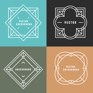 Vector set of outline emblems and badges - abstract hipster logo templatesのイラスト素材 [FYI03084572]