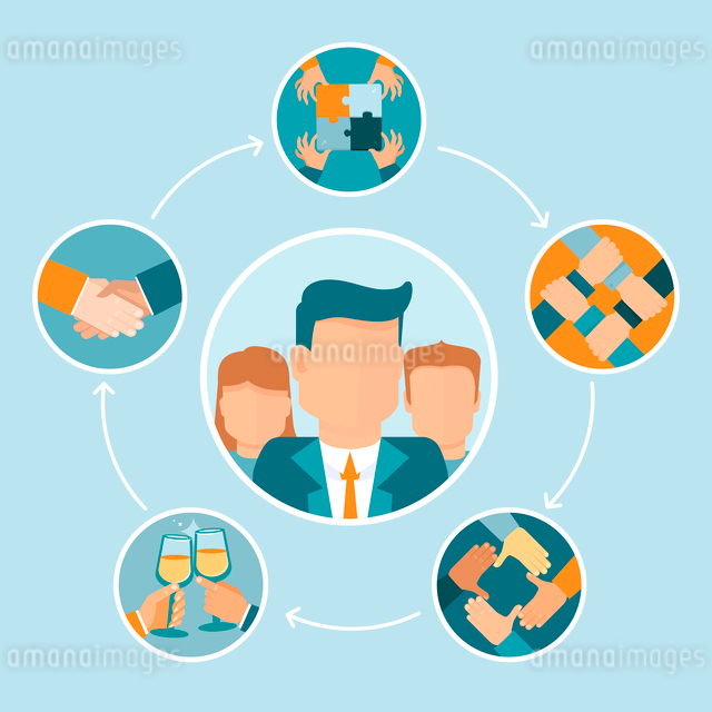 Vector teamwork and cooperation concept in flat style - partnership and collaboration icons - busineのイラスト素材 [FYI03084573]
