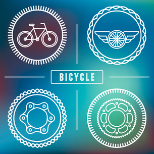 Vector hipster bicycle logo templates - set of outline iconsのイラスト素材 [FYI03084574]