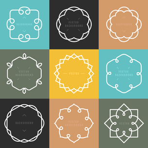 Vector set of outline emblems and badges - abstract hipster logo templatesのイラスト素材 [FYI03084576]