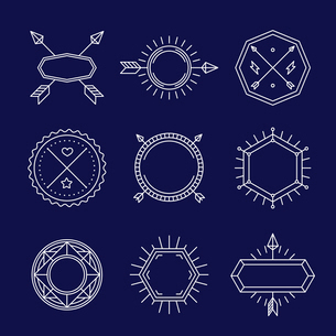 Vector set of outline emblems and badges - abstract hipster logo templatesのイラスト素材 [FYI03084577]