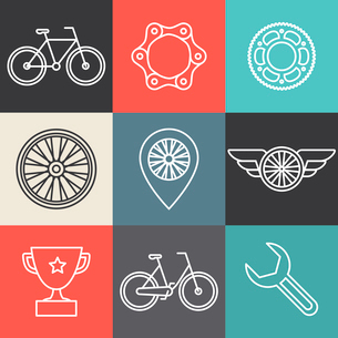 Vector hipster bicycle logo templates - set of outline iconsのイラスト素材 [FYI03084578]