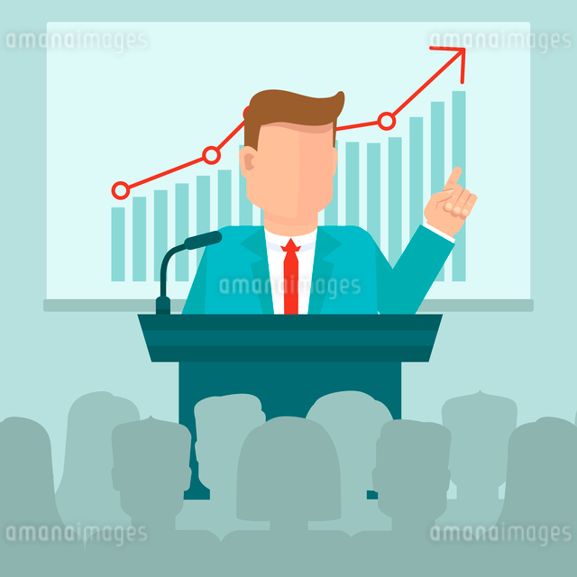 Vector business conference concept in flat style - man speaking in front of presentation screen withのイラスト素材 [FYI03084588]