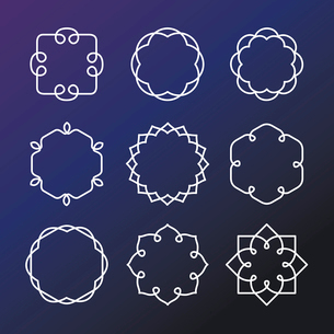 Vector set of outline emblems and badges - abstract hipster logo templatesのイラスト素材 [FYI03084590]