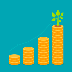 Vector growth concept in flat style - stack of golden coins and green small plantのイラスト素材 [FYI03084593]