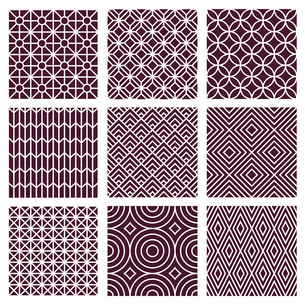 Vector seamless patterns set in trendy mono line style - 9 minimal and geometric texturesのイラスト素材 [FYI03084595]