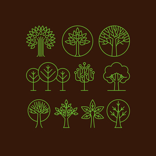 Vector organic tree icons - outline  monograms and logos -ecology and bio design elementsのイラスト素材 [FYI03084602]