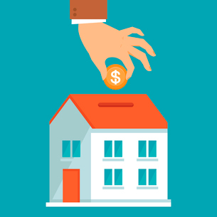Vector investment concept in flat style - businessman,s hand putting coin inside the house - real esのイラスト素材 [FYI03084608]