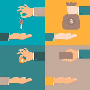 Vector business concepts in flat style - hands giving and receiving earnings, charity, keys and cardのイラスト素材 [FYI03084613]