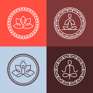 Vector yoga icons and round line badges - graphic design elements in outline style  or logo templateのイラスト素材 [FYI03084614]